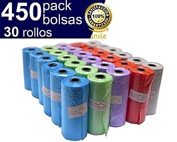 Bolsas para excrementos de perro BriMix 450 Fácil de Separar. 30 Rollos x 15 Bolsas/Rollo. Poop Bags para Recoger la Caca de su Perro o heces de Las ...