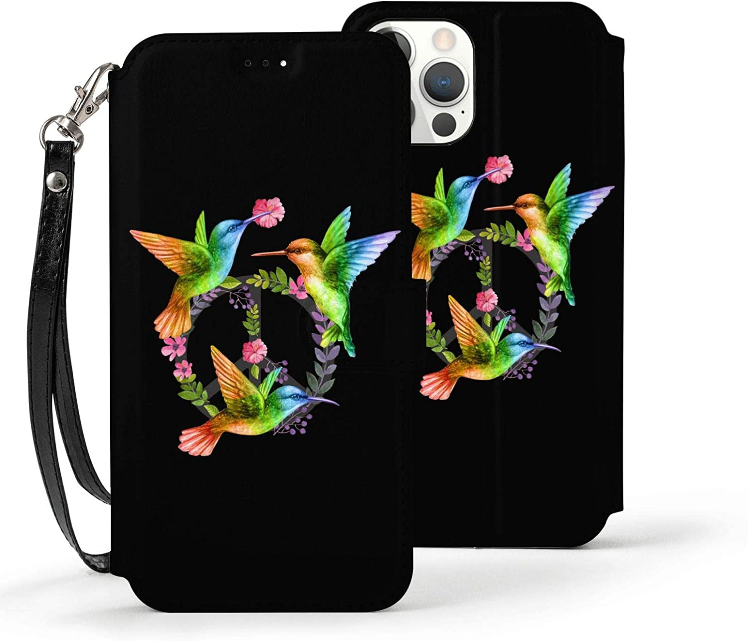 Rainbow Hummingbird Bird Peace Sign Case for iPhone 12 Pro Max for Women Men Leather Wallet Case with Card Holder Wrist Strap