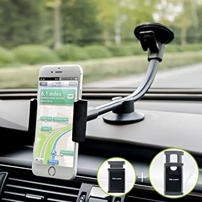 Newward Car Phone Mount, 2 Clamps Long Arm Universal Windshield Dashboard Cell Phone Holder for iPhone 11 X 8 7 Plus 6 6s Plus 5s SE,Samsung Galaxy S9 S8 S7 S6 S5 Note,Google,LG and Other Smartphones [5Bkhe1507090]