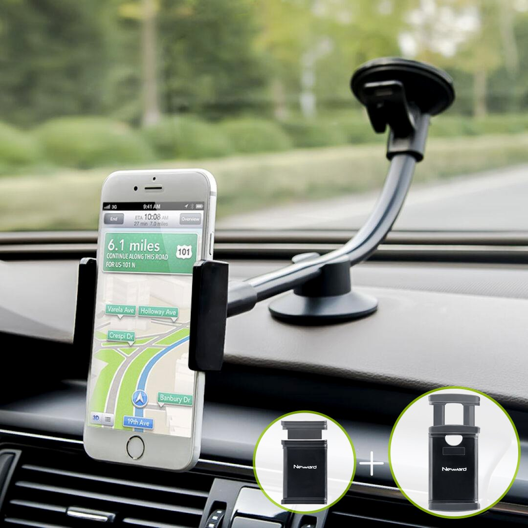 Car Phone Mount, Newward 2 Clamps Long Arm Universal Windshield Dashboard Cell Phone Holder for iPhone X 8 7 Plus 6 6s Plus 5s SE,Samsung Galaxy S9 S8 S7 S6 S5 Note,Google,LG and Other Smartphones by Newward
