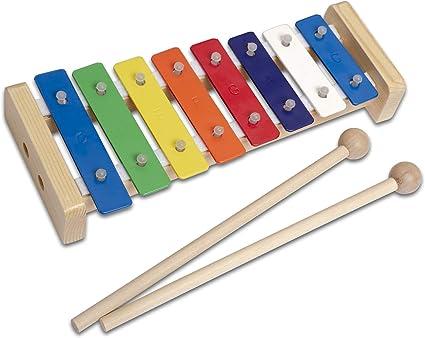 CASCHA Glockenspiel de madera de colores, xilófono para niños con dos mazas e instrucciones con 5 canciones infantiles, instrumento musical a partir ...