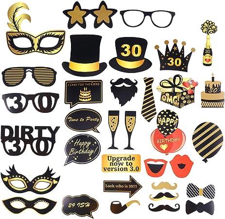 Amosfun 35pcs DIY Photocall Atrezzo Divertida Creativa Bigotes Gafas Sombreros Labios para Fiesta Boda Cumpleaños 30 Graduación: Amazon.es: Hogar