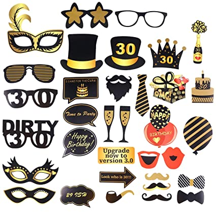 Amazon.com: Amosfun 35PCS Happy Birthday Photo Booth Props ...