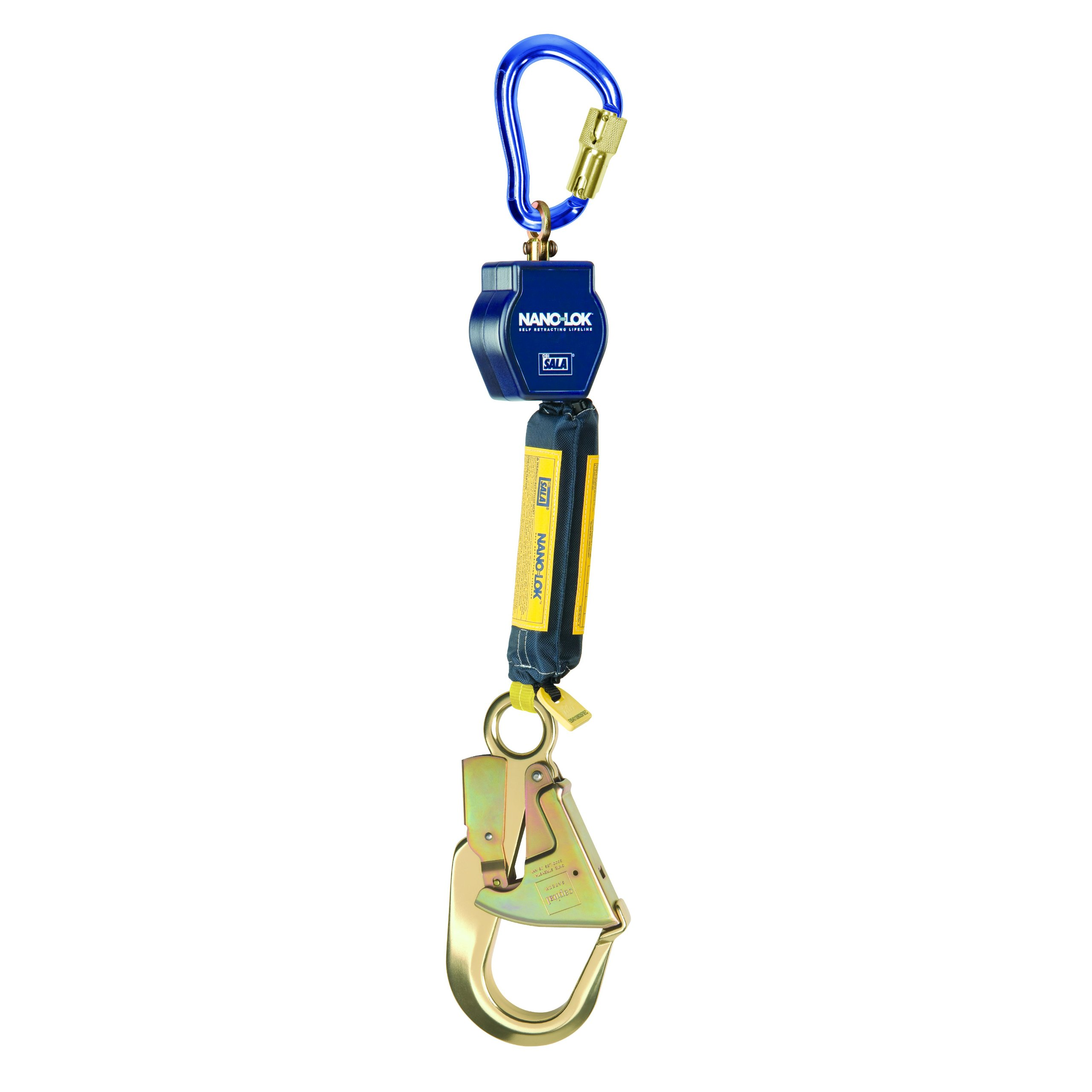 3M DBI-SALA Retrax 1241480 Shock Absorbing Lanyard, 6' 100 Percent Tie-Off Retractable Web and Snap Hooks At Each End, Navy/Yellow