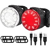 USB Rechargeable LED Bike Lights Set, Ultra Bright Front and Back Rear Bicycle Light Combo, IPX5 Waterproof Mountain Road Hel