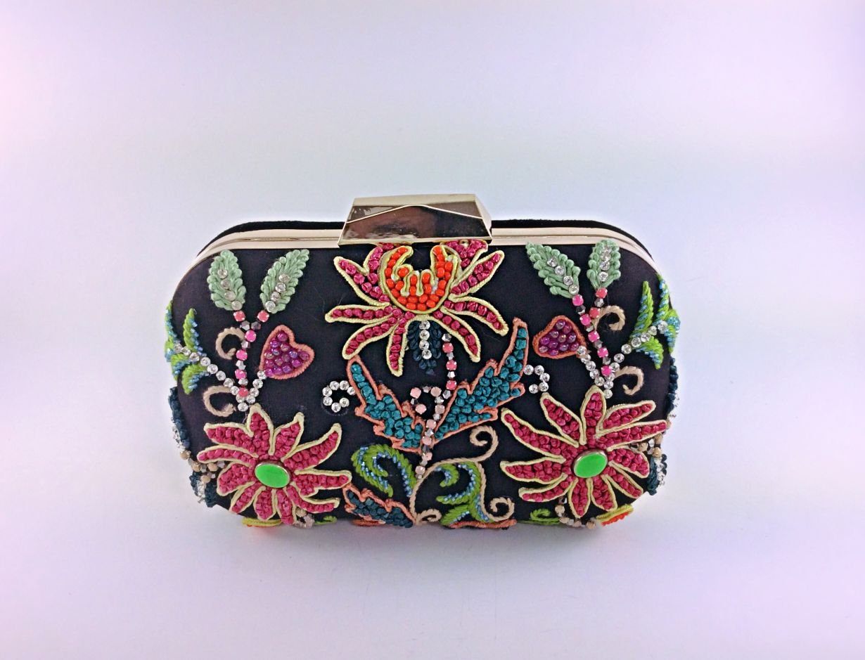 Black with multicolor embroidery box clutch,hand sewn embroidery,silk thread work,evening bag,party clutch,bridal clutch,prom clutch,embellished clutch,floral pattern,wedding clutch or gifts.