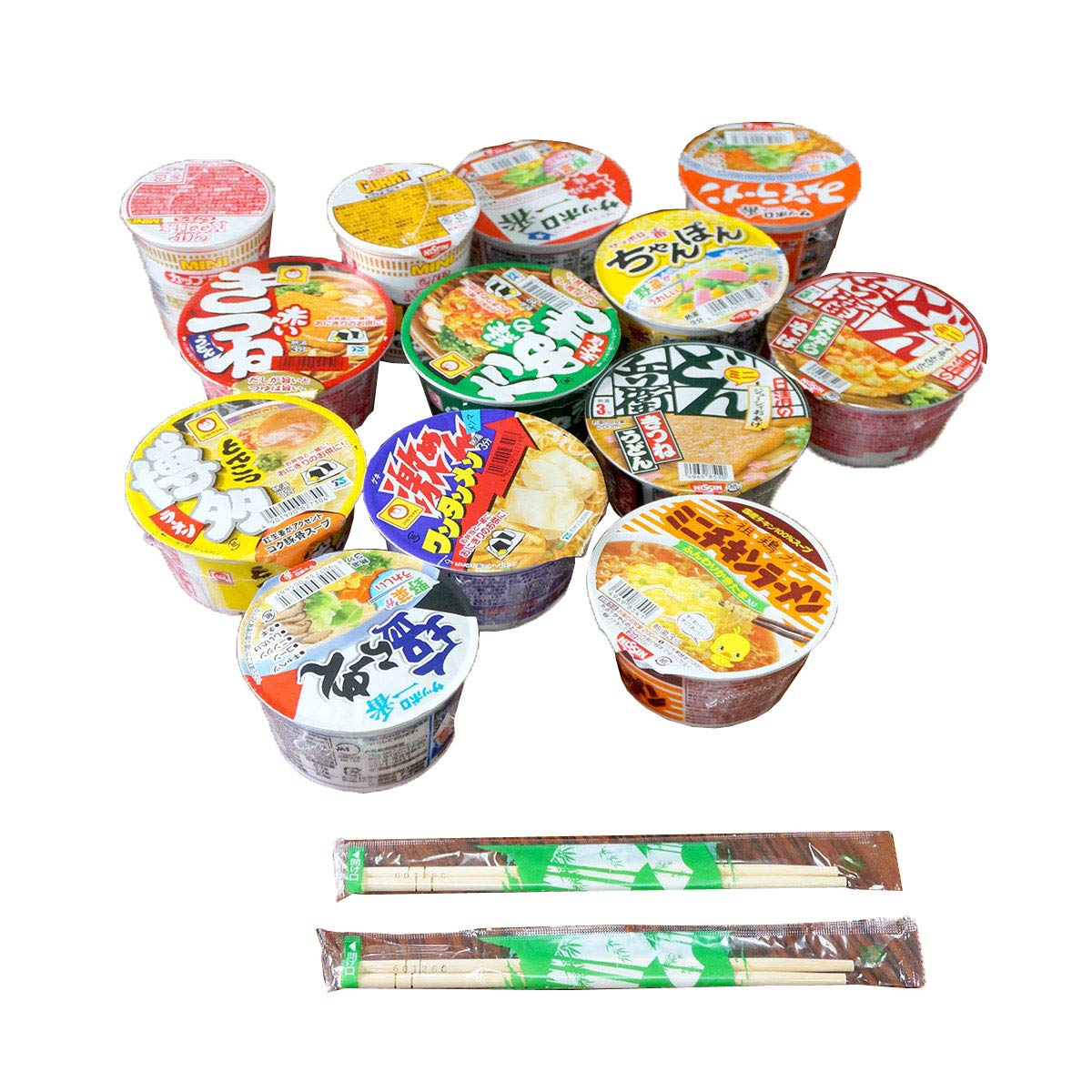 Japanese Cup Noodles Mini Cup Lucky Assortment SET with 2 Chopsticks Ramen Udon Soba Champon (5 Cups)