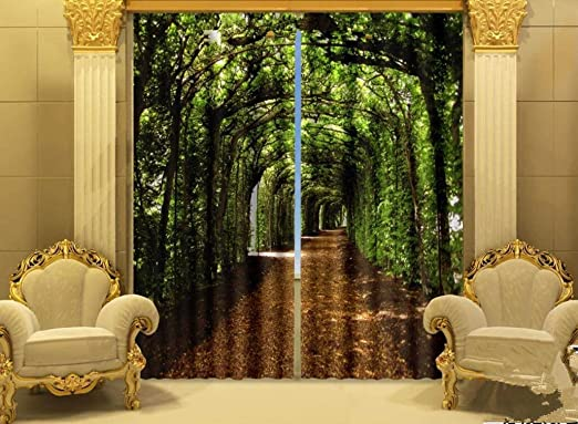 Amazon Com H M Curtain Forest Shade Trails A Shade Cloth Warm Bedroom Decorative Window Curtains 3d Printing Finished Wide 3 6x High 2 7 Home Kitchen