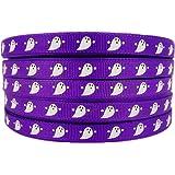 """3/8"""" 50 Yards Halloween Ghost Cartoon Printed Purple Grosgrains Ribbons Hiarbow Craft Supplies Sewing"""