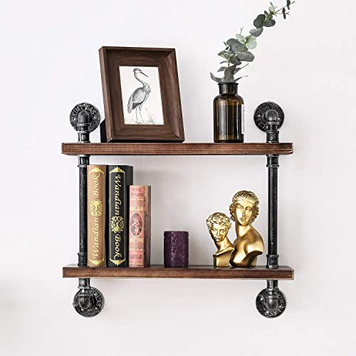 BOSURU Industrial Pipe Shelving Rustic Wood Floating Shelves 2 Tiers Modern Wall Mount Bookshelf Black,24 inch