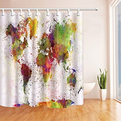 Amazon nymb urban color world map 69x70in mildew resistant nymb urban color world map 69x70in mildew resistant polyester fabric shower curtain gumiabroncs Gallery