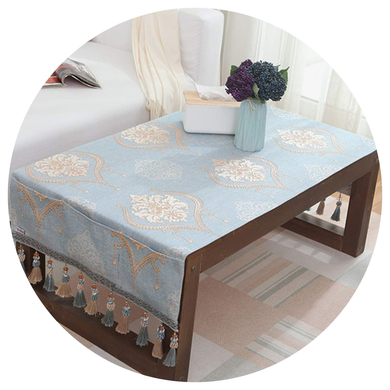 Tablecloths Table Cloth Jacquard Toalha De Mesa Small Tablecloth Pocket Design Hanging Dining Bedside Cabinets Table Covers,Style 2,50X160Cm