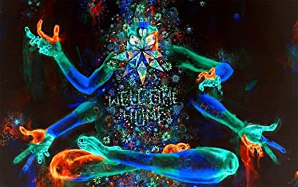 amazon com psychedelic trippy art fabric cloth rolled wall poster