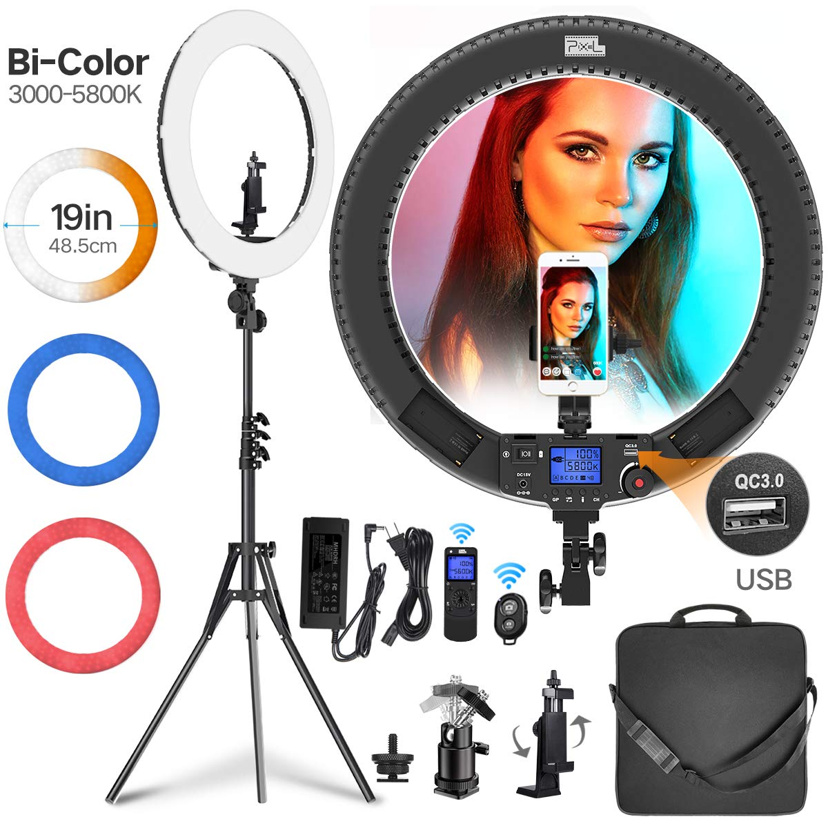 Ring Light, Pixel 19'' Bi-Color Ring Light with Stand and Wireless Remote, 60W 3000-5800K CRI≥97 Light Ring with 3 Color Filters (Red/Blue/White) for Vlogging Portrait Makeup Video Shooting by PIXEL