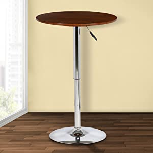 Armen Living Bentley Adjustable Pub Tables with Walnut Wood Finish Wood and Chrome Finish