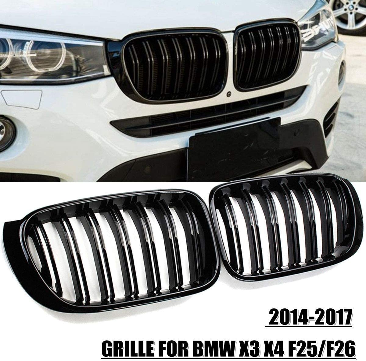 Shenme Sport K/ühler Grill Nieren 2X M-Art-Auto Frontgrill Grill Ineinander greifen-Netz-Ordnungs-Streifen-Abdeckung Gloss Black Double Line for BMW X3 X4 F25 F26 2014 2015 2016 2017