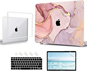 AOKILOM Clear & Marble Cases for MacBook Air 13 inch with Touch ID 2021 2020 2019 2018 Release A2337 M1 A2179 A1932, Plastic Hard Shell Cases & Keyboard Cover & Screen Protector & Dust Plug