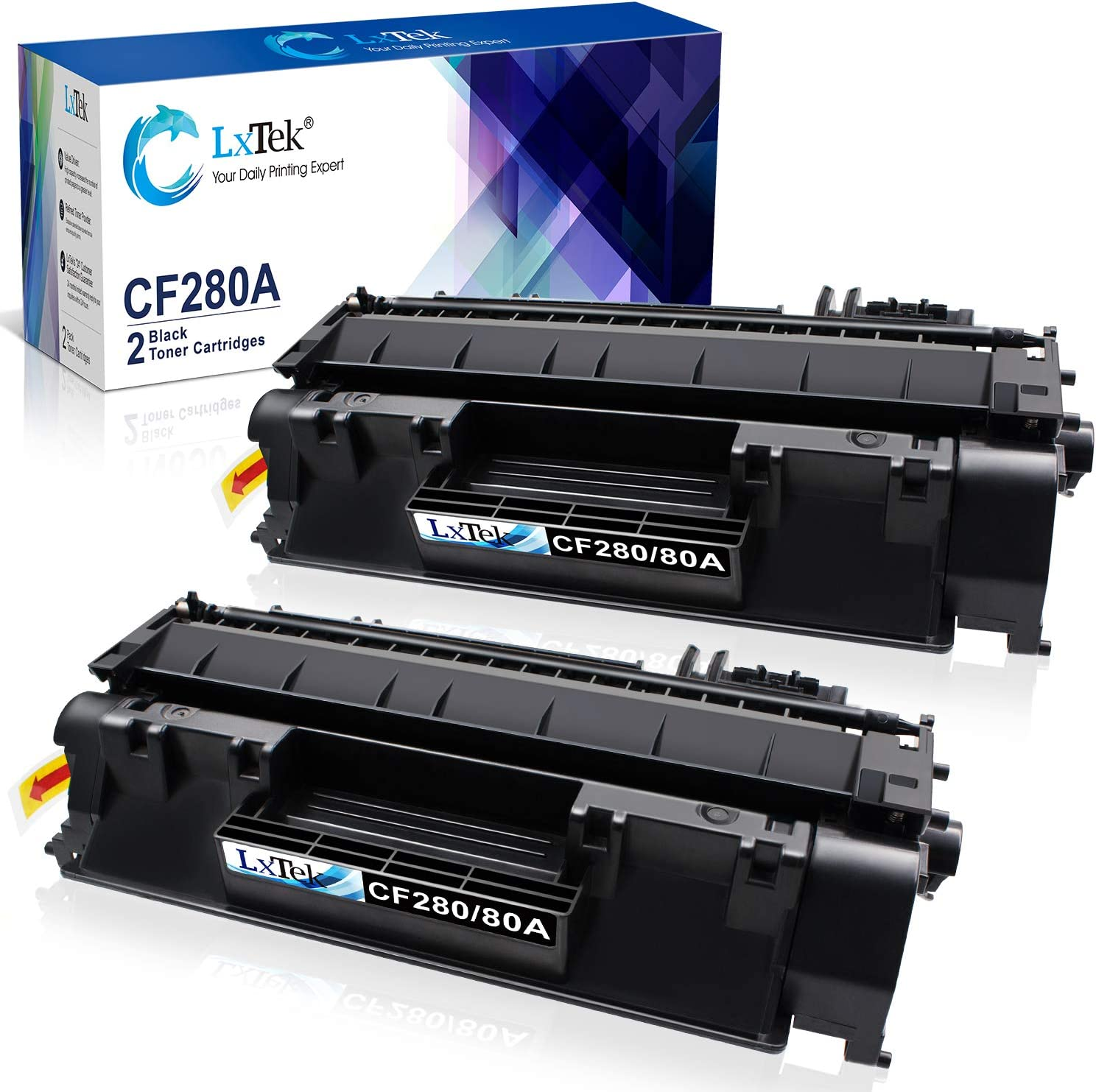 LxTek Compatible Toner Cartridge Replacement for HP 80A CF280A 80X CF280X 05A CE505A to use with Laserjet Pro 400 M401dne M401dn M401dw M401n, Pro 400 MFP M425dn M425dw Printer (2 Black, High Yield)