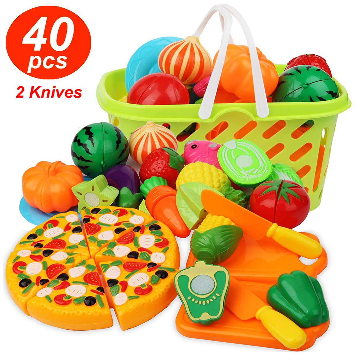 Cutting Play Food Kitchen Pretend - Grocery Basket Toys for Kids 40pcs Children Girls Boys Educational Early Age Basic Skills Development, Include Fruits Vegetables Pizza Knife Mini Dishes by Feroxo