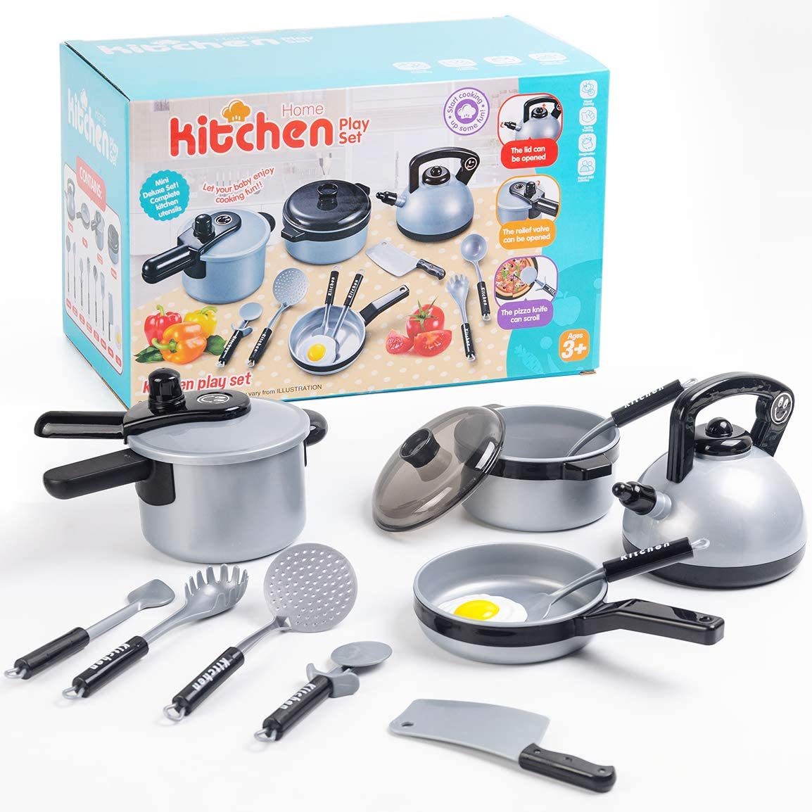 Refasy Kids Kitchen Pretend Play Toys Cooking Utensils Accessories Cooking Set for Toddlers