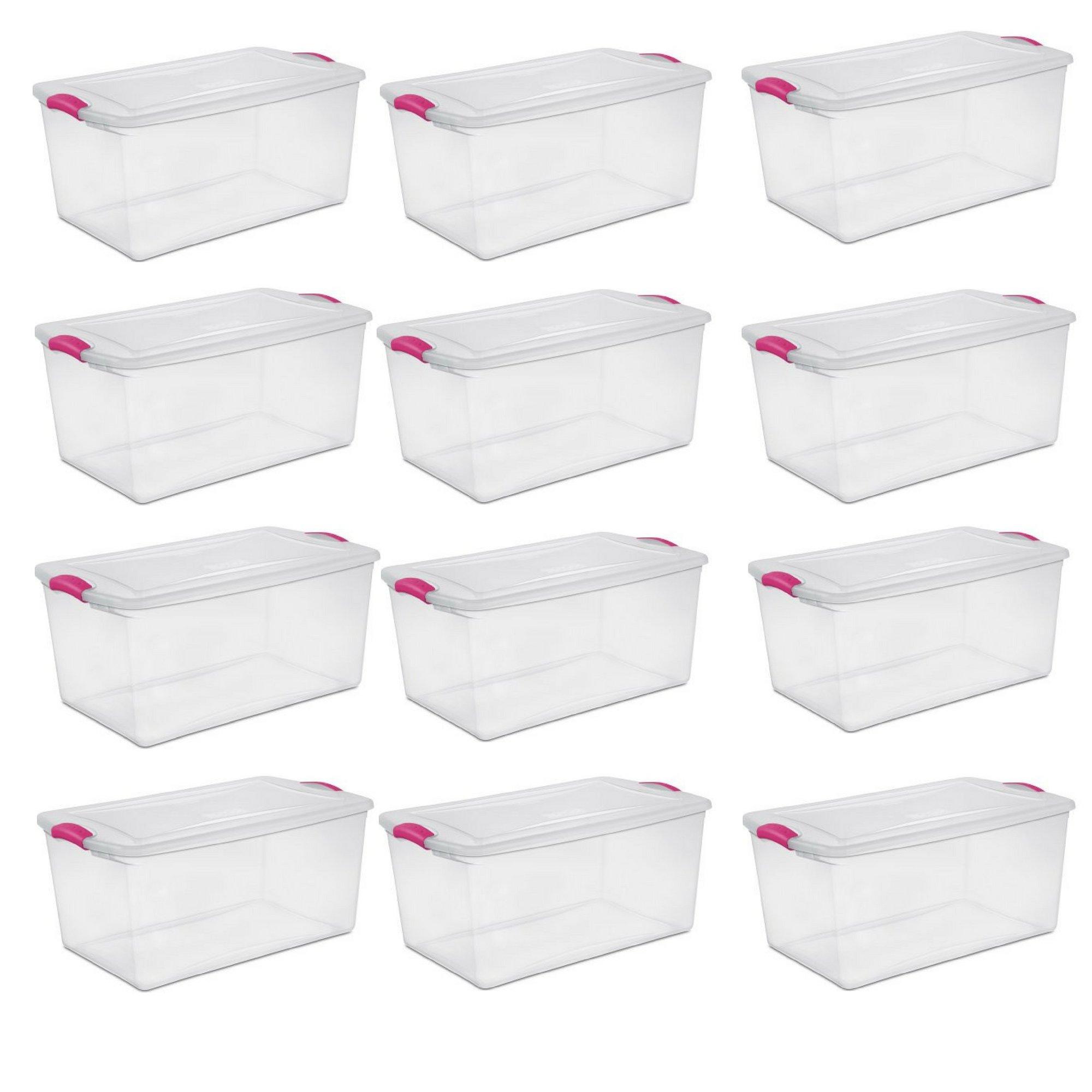 Sterilite 66 Qt./62 L Latch Box, Fuchsia Burst - 12 Pack