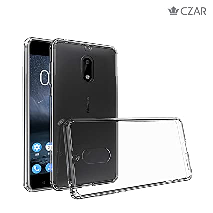 reputable site a0501 6b6cc Czar Nokia 6 Back Cover/Glazed Cushion Nokia 6 (August 2017) Transparent  case/Back Cover Hard Clear Back + Soft Cushion Edge Solid Drop Protection  ...