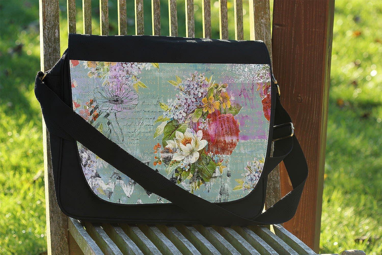 Grunged Florals on Green Messenger Bag Cross Body Laptop School Work Bag