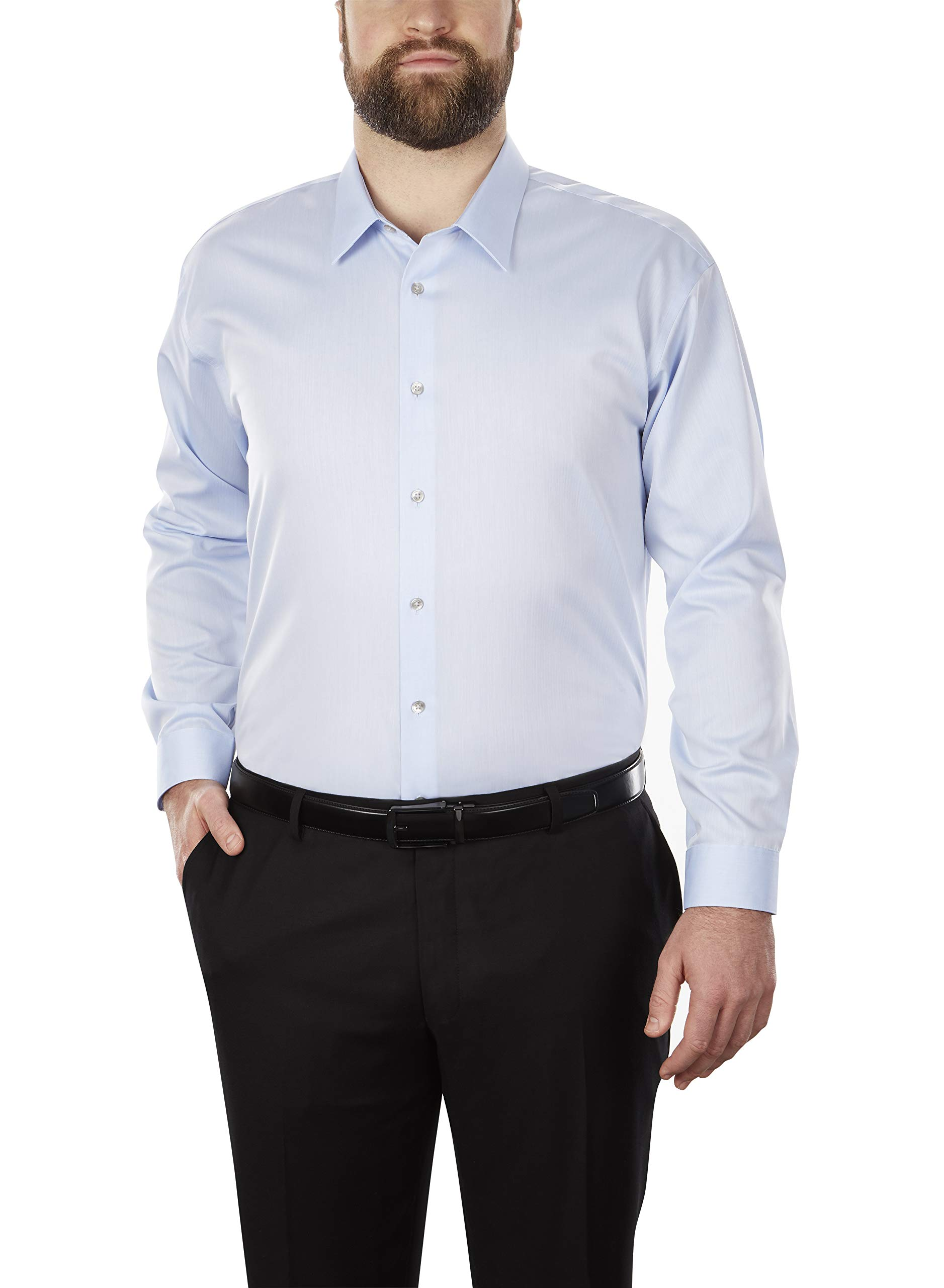 Calvin Klein Men's Big and Tall Dress Shirt Non Iron Solid, Blue, 20'' Neck 35''-36'' Sleeve (4X-Large)
