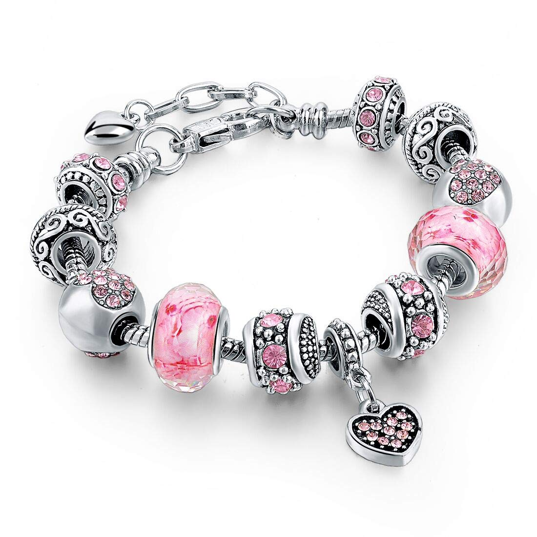 Long Way Silver Tone Chain Pink Crystal Love Heart Bead Glass Charm Bracelet with Extender 7.5''+1.5'' by Long Way