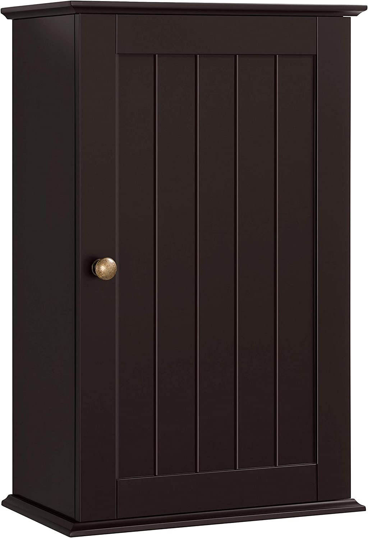Topeakmart Medicine Cabinet/Cupboard, Wall Mounted Bathroom Cabinet Single Door 3 Tier Adjustable Storage Shelf for Bathroom/Kitchen/Living Room/Bedroom