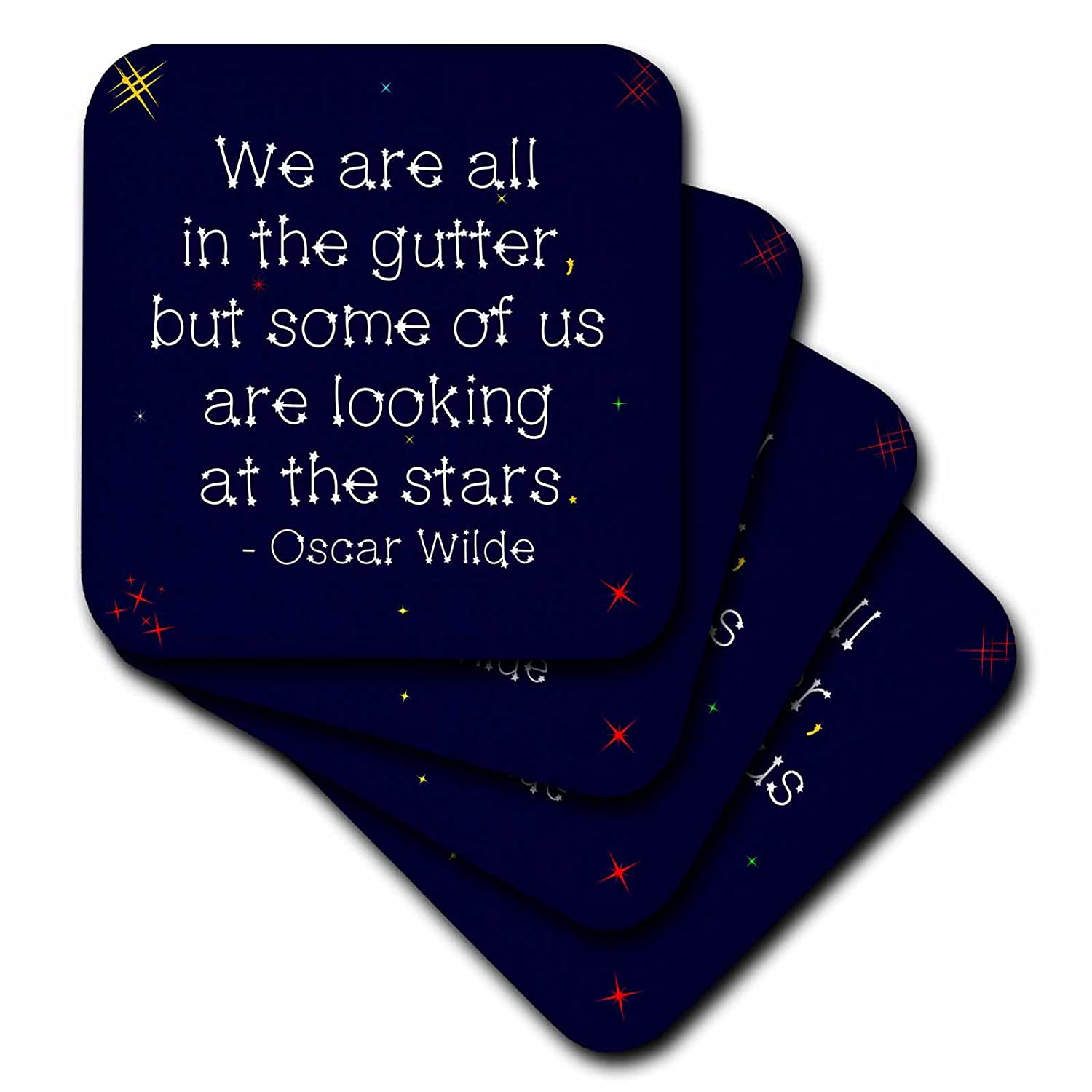 3drose Alexisデザイン – 引用Oscar Wilde – Oscar Wilde Quote We Are All In The Gutterが、 – In Star Styledテキスト – コースター set-of-8-Ceramic cst_285936_4 set-of-8-Ceramic  B07FSX4CCD