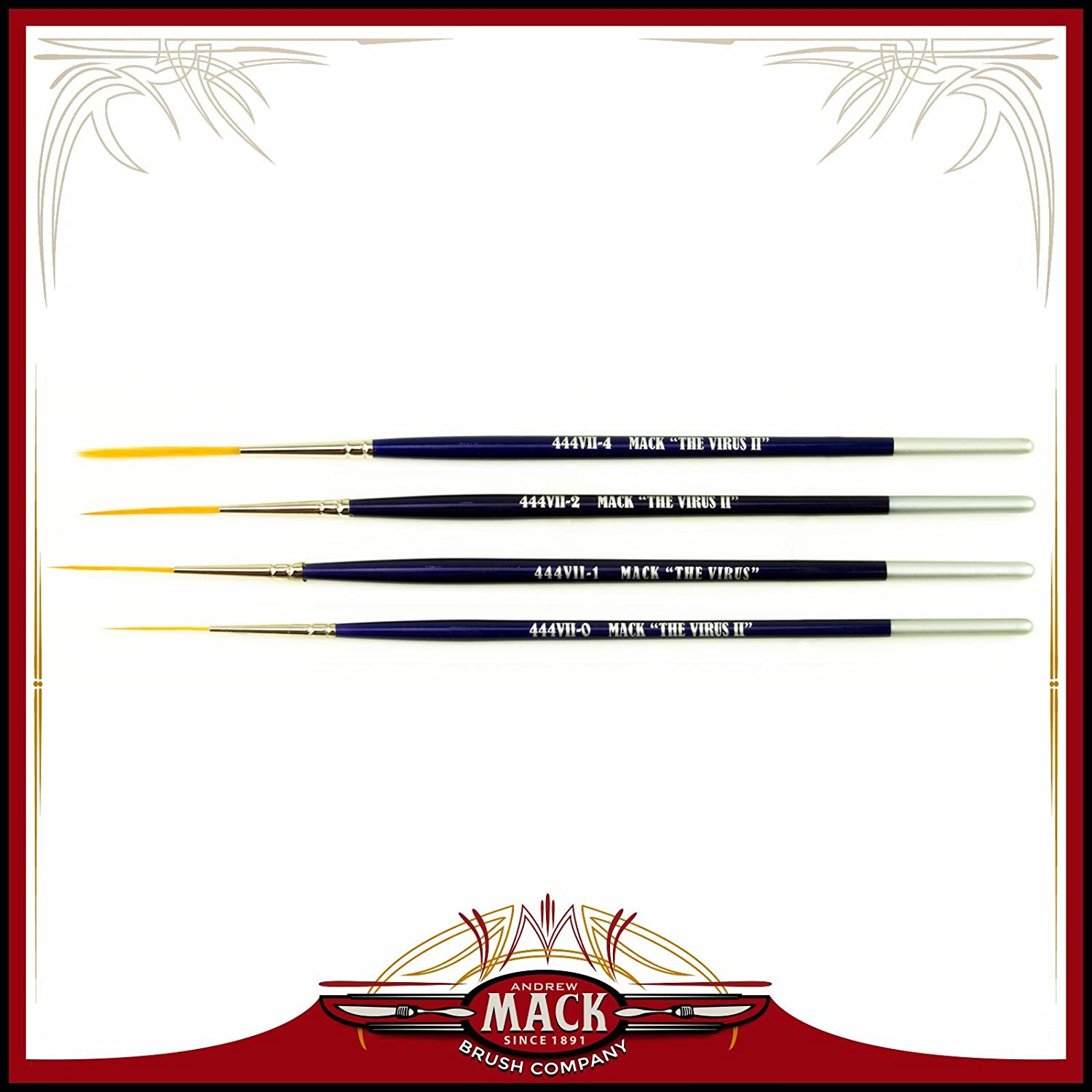 Set of 4 Size 0-4 Series 444VII The Virus II Scrolling Script Pinstriping Brush With Soft Golden Synthetic Hair Andrew Mack Brush