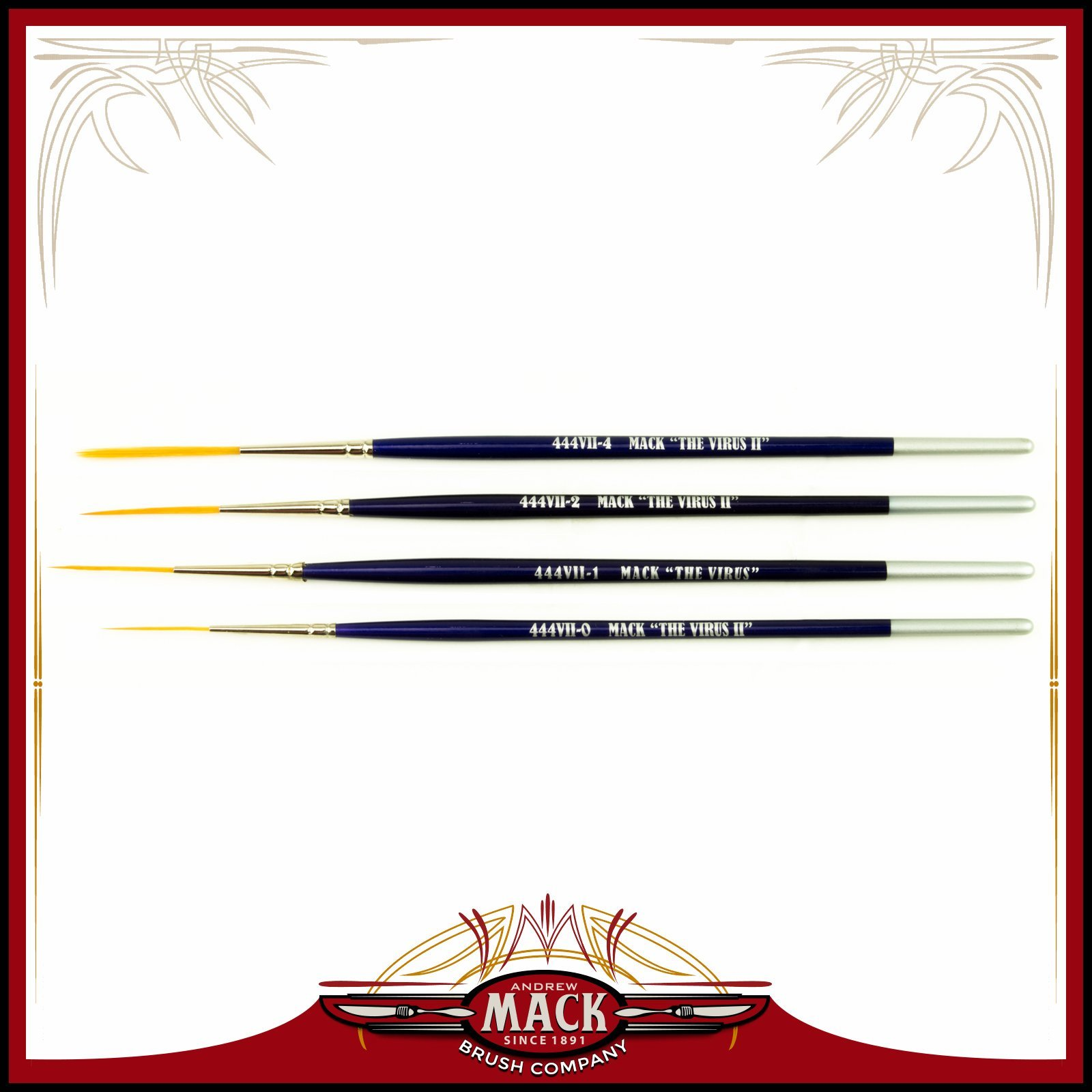 Set of 4 Size 0-4 Series 444VII The Virus II Scrolling Script Pinstriping Brush with Soft Golden Synthetic Hair by Andrew Mack Brush