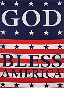 Covido God Bless America July 4th Garden Flag, Home Decorative American Flag Patriotic House Yard Decor USA Star Sign Spring Summer Outside Decoration Seasonal Outdoor Small Flag Double Sided 12 x 18