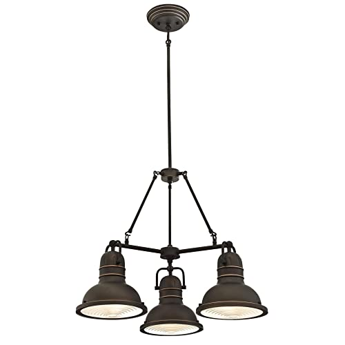Westinghouse Lighting 6333700 Boswell Three-Light Indoor Chandelier, Oil Rubbed Bronze Finish with Highlights and Prismatic Lens