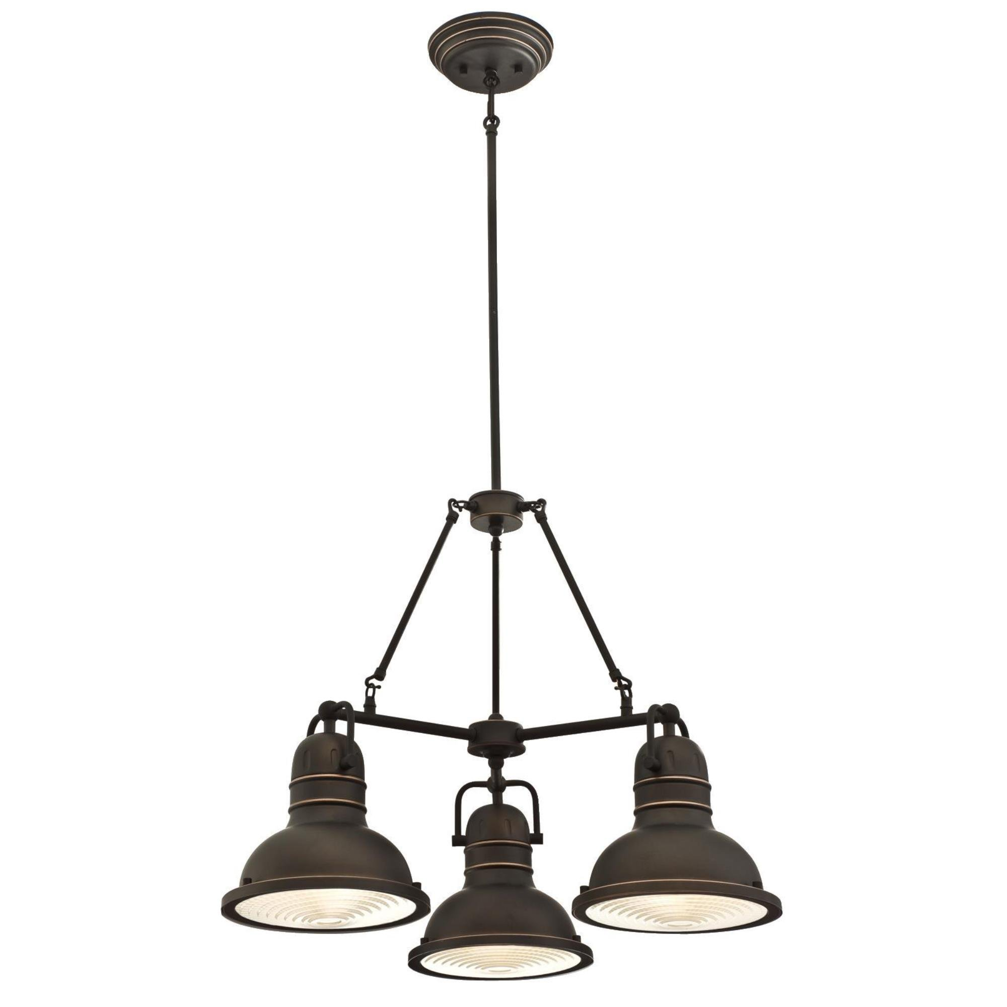 Westinghouse 6333700 Boswell Three-Light Indoor Chandelier Finish with Highlights and Prismatic Lens, Oil Rubbed Bronze by Westinghouse