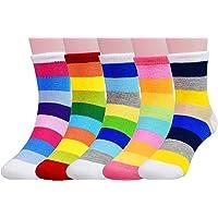 Cczmfeas Calcetines de niña Calcetines de raya algodón con textura gruesa 5 pares de calcetines