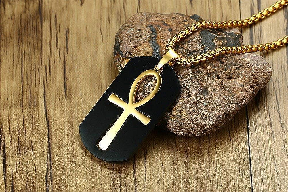XBMEN Croix /égyptienne Ankh Assorti Inoxydable Deux Tons Or Noir Religieux Acier Dogtag Collier Pendentif pour Homme