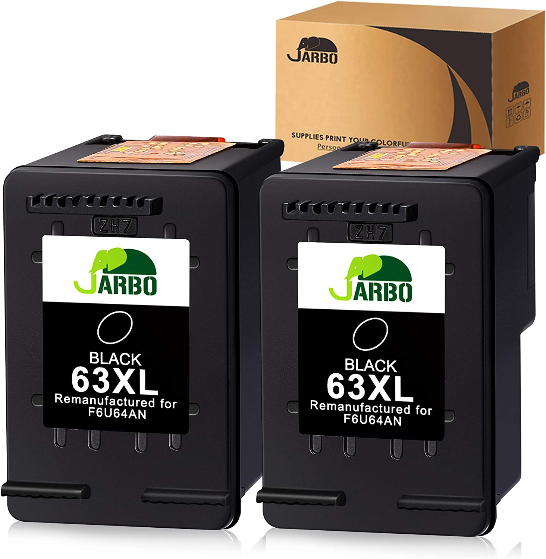 2 Pk Black Ink Cartridges for HP 63XL fits ENVY 4520 Deskjet 2131 2133 2134 3633