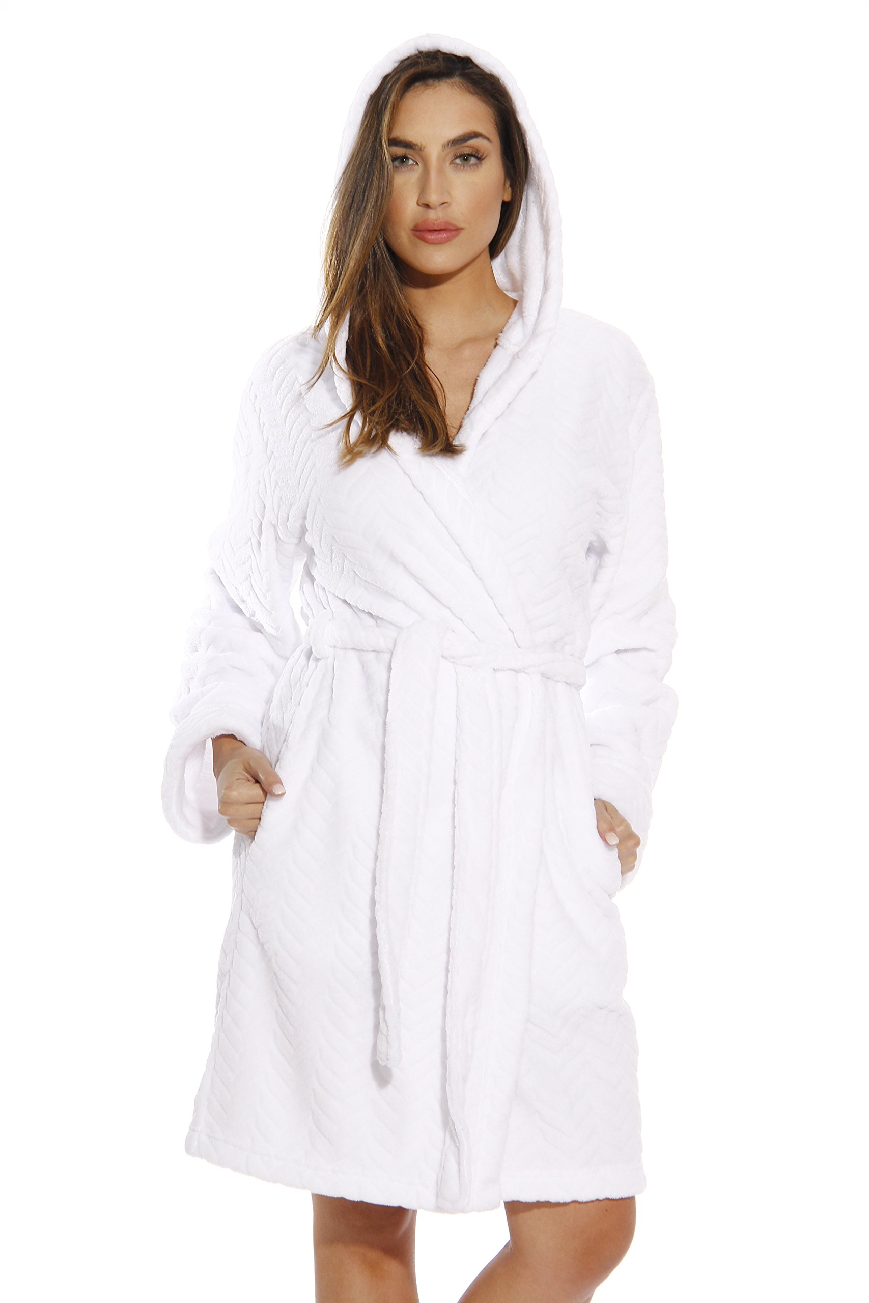6341-White-3X Just Love Kimono Robe / Hooded Bath Robes for Women