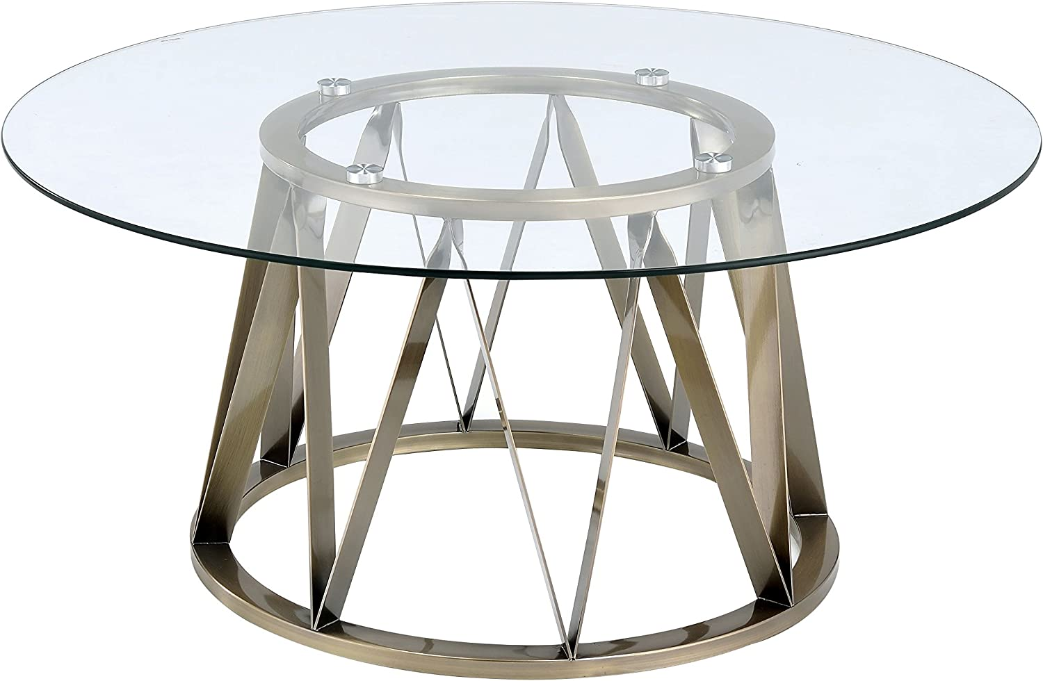 Acme Perjan Antique Brass Coffee Table With Glass Top Amazon Ca Home Kitchen