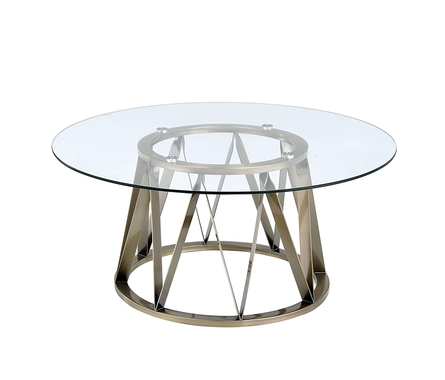 Amazon Com Acme Perjan Antique Brass Coffee Table With Glass Top