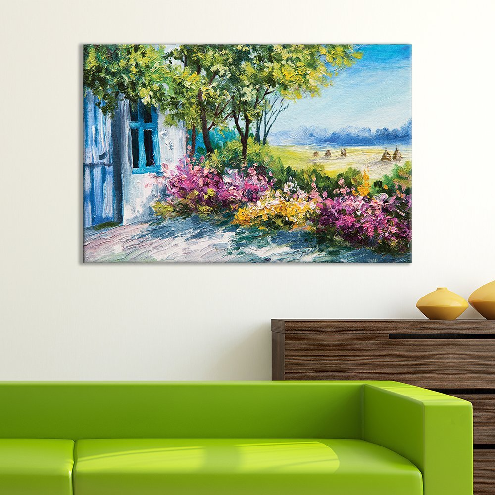 wall26 Canvas Wall Art of Small House on Beautiful Flowery Plain Oil Painting   32'' x 48''