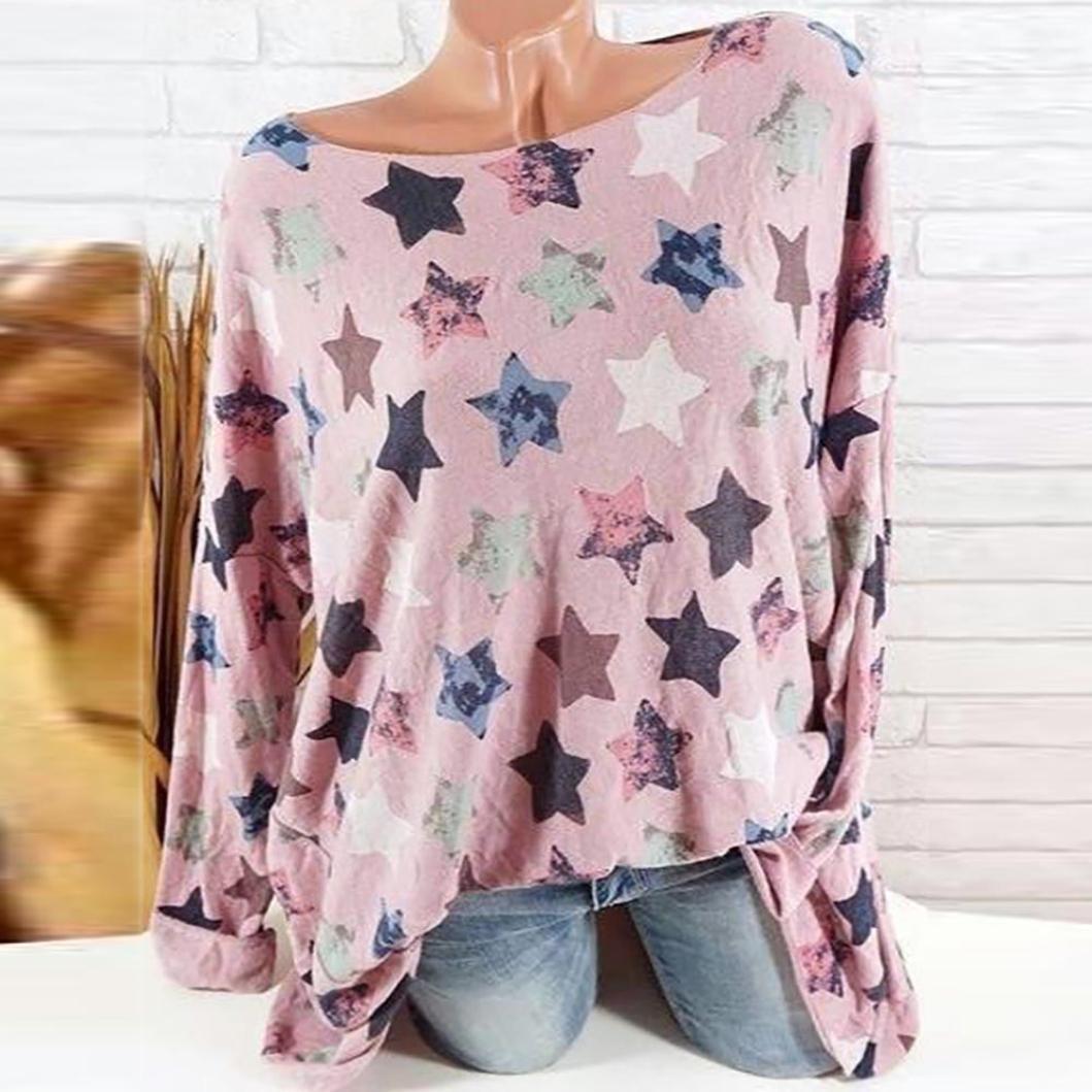 DEELIN Women Plus Size Five-Pointed Star Print Long Sleeve Blouse ...