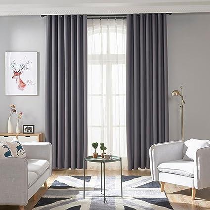 UEB Rideaux Salon de Fenêtre Simple Couleur Pure Maison Occultant étude  Chambre à Coucher Rideau pour Enfant Adulte Rideau Occultant 100 X 200cm  Gris
