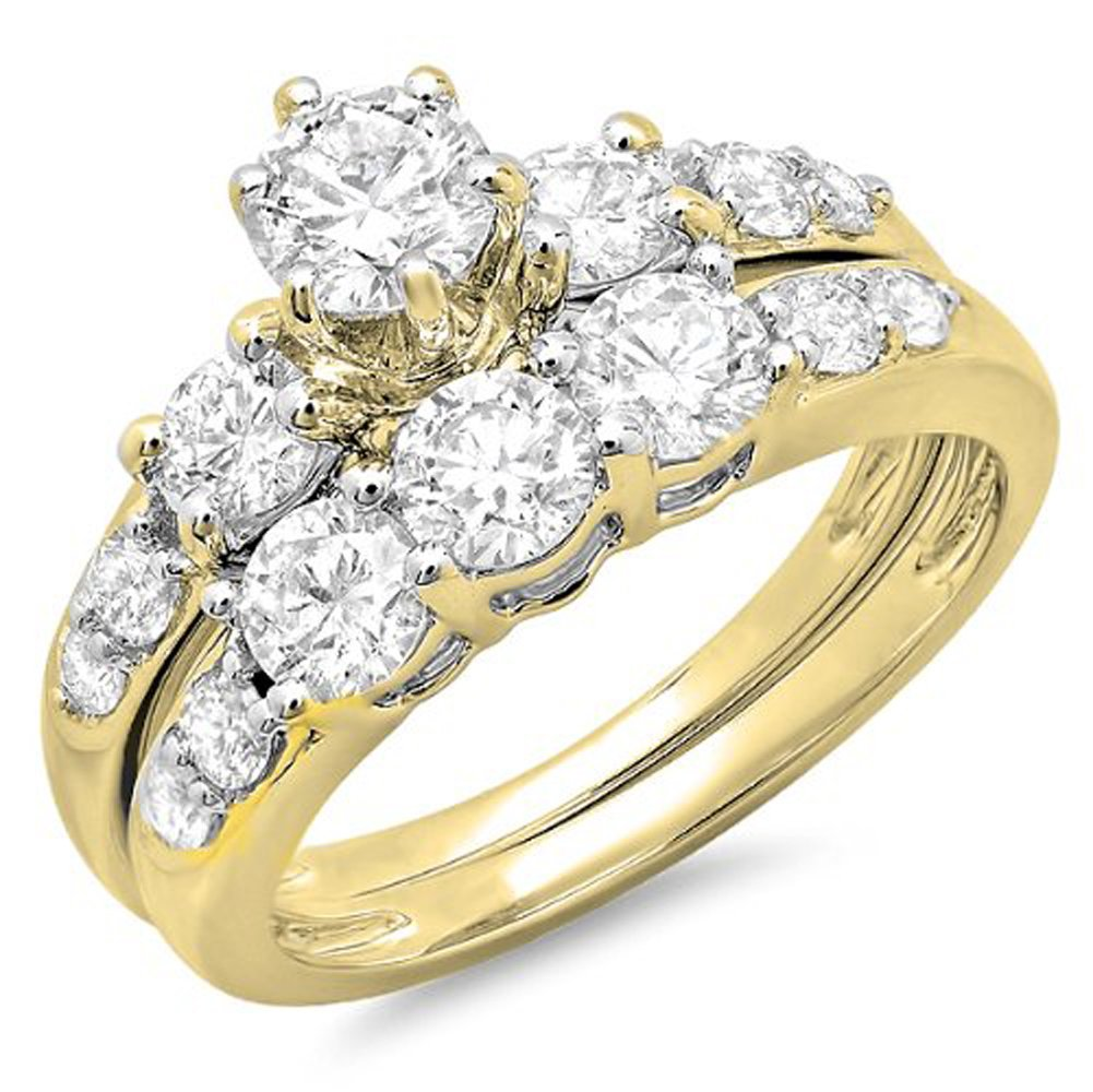 1.80 Carat (ctw) 14K Yellow Gold Round Diamond Ladies 3 Stone Bridal Engagement Ring Set (Size 6)