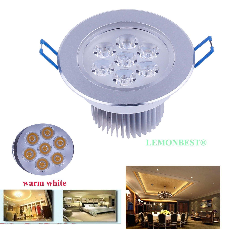 LEMONBEST® Super Bright Dimmable 7W LED Ceiling Light Downlight Recessed Lighting kit for decoration lighting lamp 110V with transformer, Warm White