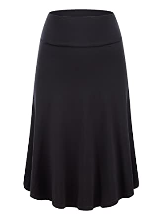 KIRA Womens Fold Over Waist Knee Length A-Line Flared Midi Skirt ...