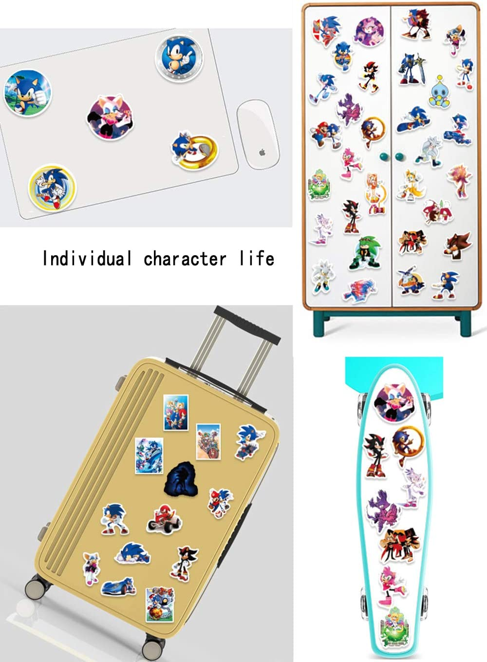 Sonic The Hedgehog Creative DIY Stickers Funny Decorative Cartoon for Cartoon PC Luggage Computer Notebook Phone Home Wall Garden Window Snowboard 50pcs