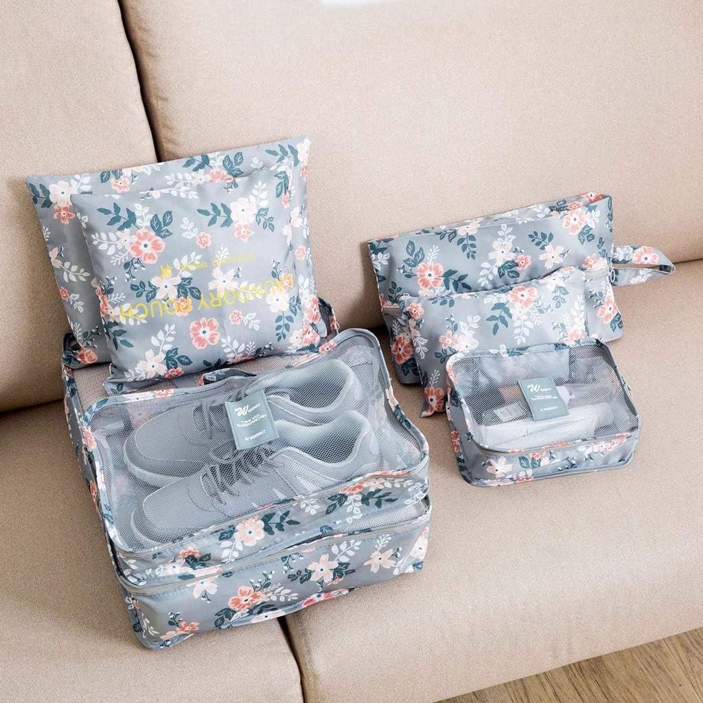 3 Pouches Fenfen-snb 7 Sets Packing Cubes-3 Packing Cubes Color : Light Gray Flower 1 Bonus Shoes Bag
